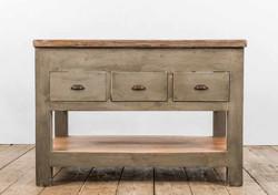 Console POSITANO in legno anticato dipinto a mano e assi di recupero | 130x90xh90 cm