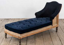 Chaise longue PORTOFINO in legno di recupero e rivestimento in juta grezza e velluto | 180x64xh84 cm