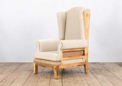 Poltrona PAPALE in legno di recupero e rivestimento in juta grezza e lino | 91x102xh150 cm