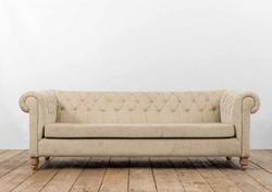 Divano TAORMINA in legno di recupero con rivestimento in lino e juta grezza | 222x100xh70 cm
