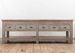 Big Console POSITANO in legno anticato dipinto a mano e assi di recupero | 260x90xh90 cm