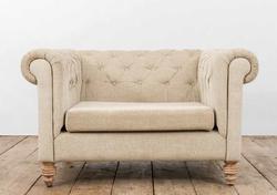 Poltrona TAORMINA in legno di recupero e rivestimento in lino e yuta grezza | 122x104xh79 cm
