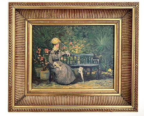 """FLAUBERT Paul """"Jeune femme sur un banc"""""""