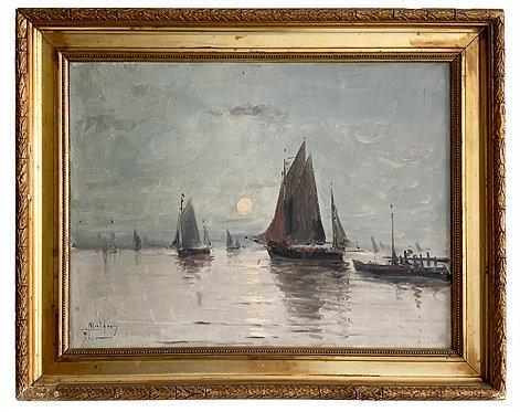 """MALFROY Henry """"Bateau au clair de lune"""""""