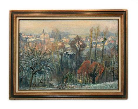 """LECOURT Raimond """"Fontaine-la-Mallet en hiver"""""""