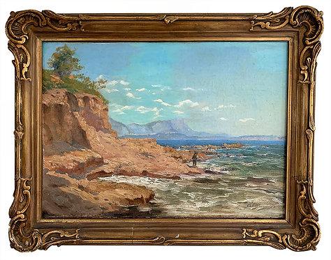 """GAUSSEN Adolphe """"Le pêcheur au bord de l'eau"""""""