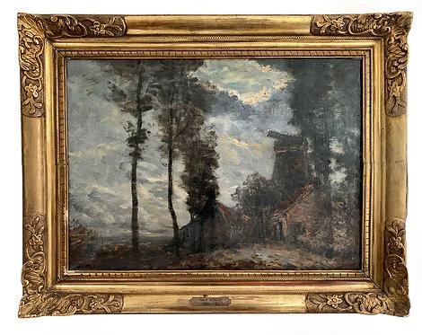 """BOGGS Frank """"Paysage animé aux grands arbres"""""""