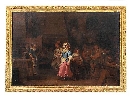 """Ecole Hollandaise XVIIIème """"Scène de fête dans une taverne"""""""