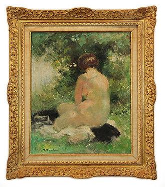 """HERVE Jules-René """"Baigneuse sur l'herbe près d'un ruisseau"""""""