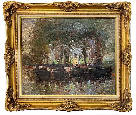 """VALTIER Gérard """"Paysage aux barques"""""""