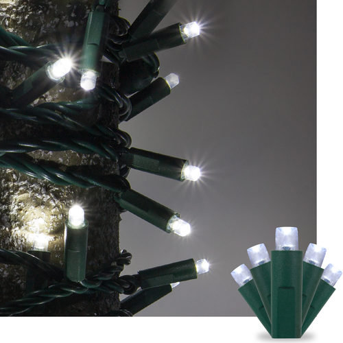 Kringle Traditions 5mm Cool White LED Christmas Lights on Green Wire