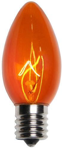 C9 Incandescent Orange Triple Dipped Transparent Bulbs 7 watts