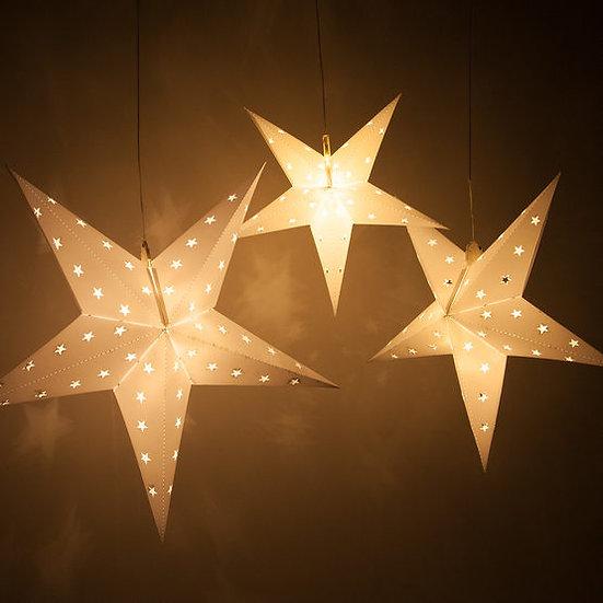 Battery Operated White Aurora Superstar 5 Point Star Light, Fold-Flat, LED