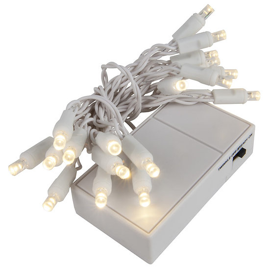Warm White Battery Operated 5mm LED Lights, White Wire