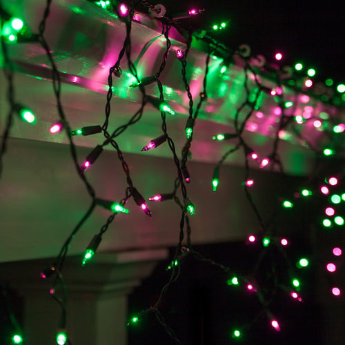 4 Strands Halloween Purple and Green Incandescent Icicle Lights