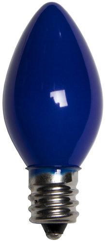 25 - C7 Opaque Blue Color  Bulbs, 7 Watt Light Bulbs