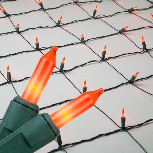 4' x 6' Orange Mini Christmas Net Lights, 150 Lights on Green Wire