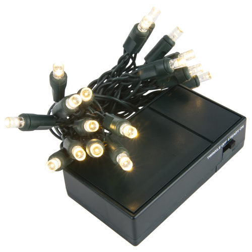 20 ct Warm White Battery Operated 5mm LED Lights, Green Wire