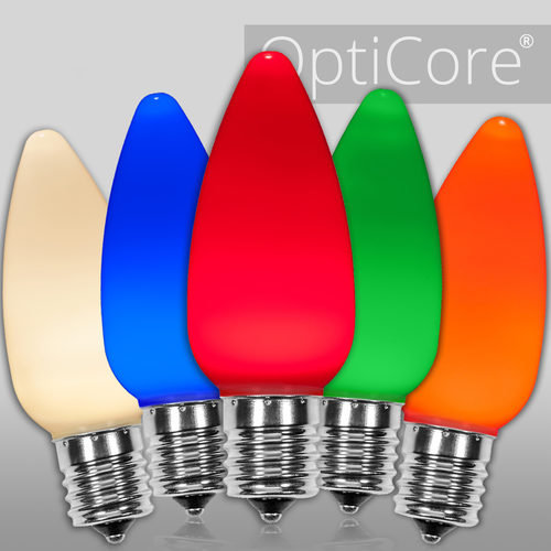 C9 Opaque Multicolor OptiCore LED Bulbs