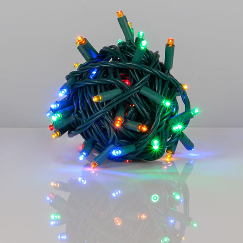"Kringle Traditions 5mm Multicolor LED Christmas Lights, Green Wire, 6"" Spacing"