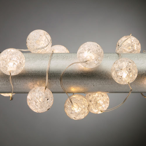 Warm White Battery Operated Crackle Bead Fairy LED Lights, Silver Wire 30 Lights