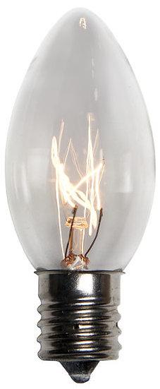 C9 Incandescent Transparent Clear, 7 Watt Light Bulbs
