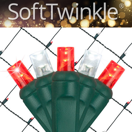 Red White Soft Twinkle Net Lights