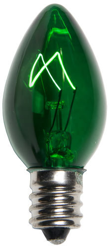 Incandescent Green C7 Christmas Light Bulb