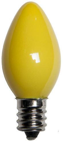 25 - C7 Opaque Yellow Color  Bulbs, 7 Watt Light Bulbs