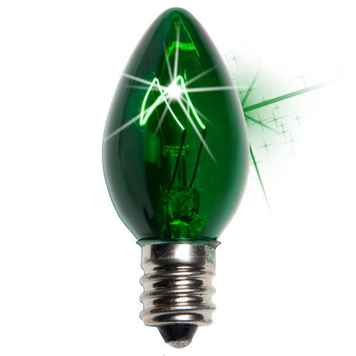 25 - C7 Transparent Twinkle Green Color  Bulbs, 7 Watt Light Bulbs