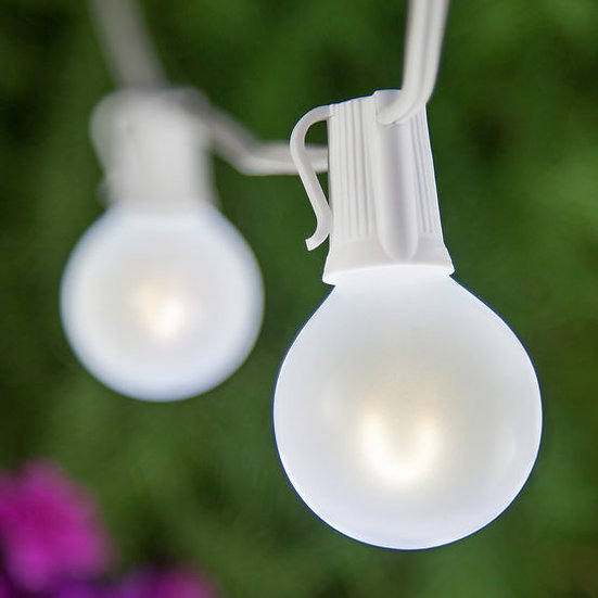 Cool White FlexFilament TM Satin Glass LED Patio String Light Set with G50 E17 - Intermediate Bulbs on White Wire