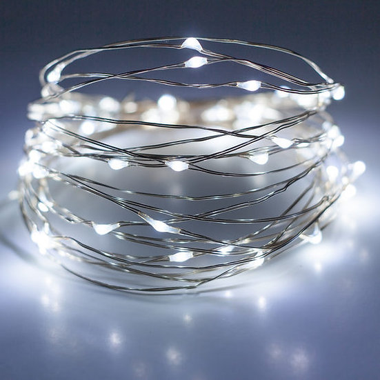 Battery Operated Cool White Fairy Lights On Silver Wire