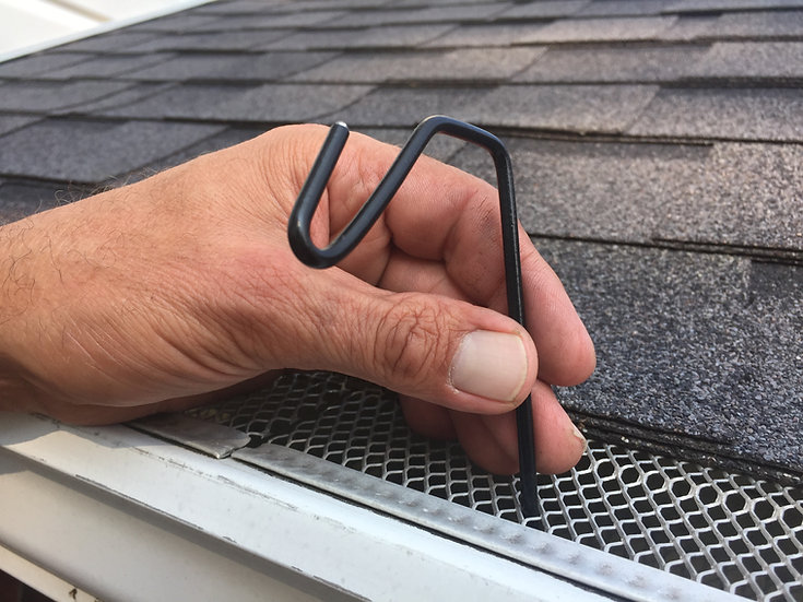 Black Halloween Christmas Hook fits gutters with mesh leaf gutter guard