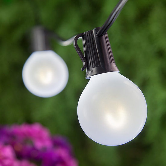 Cool White FlexFilament TM Satin Glass LED Patio String Light Set with G50 E17 - Intermediate Bulbs on Black Wire