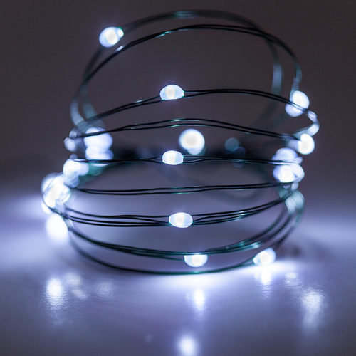 Battery Operated Cool White Fairy Lights On Green Wire
