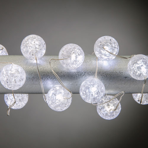 Cool White Battery Operated Crackle Bead Fairy LED Lights, Silver Wire 30 Lights