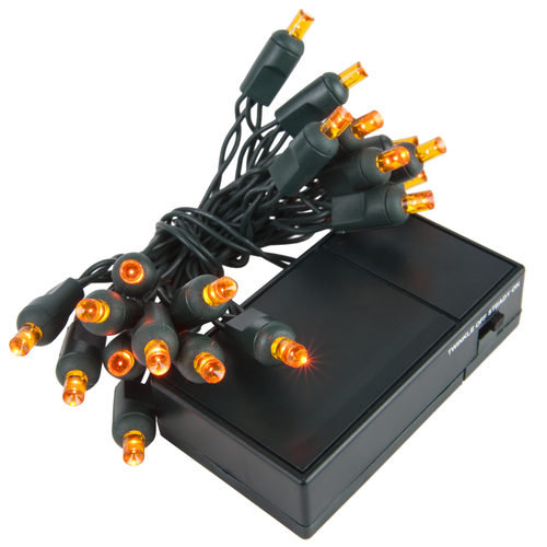 Amber / Orange Battery Operated 5mm LED Lights, Green Wire