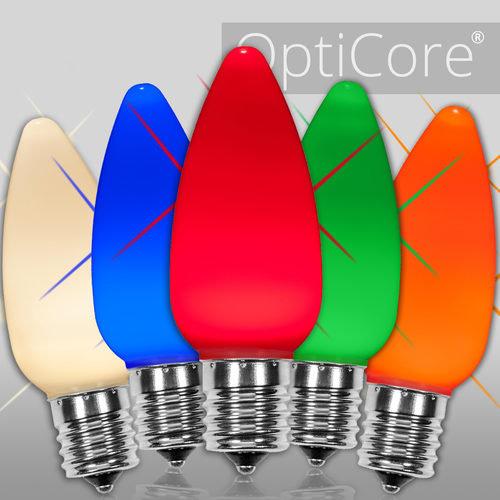 C9 Twinkle Opaque Multicolor OptiCore LED Bulbs