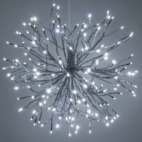 Twinkle Cool White LED Silver Starburst Lighted Branches 12, 18, 24 inch