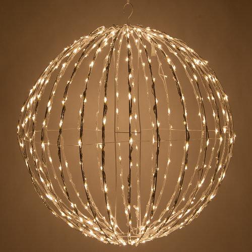 Warm White LED Light Ball, Fold Flat White Frame