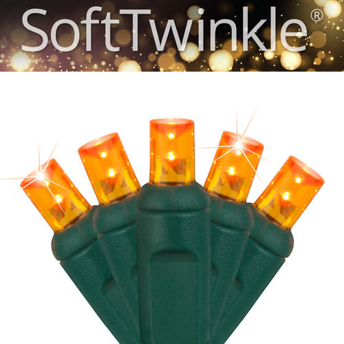 50ct 5mm SoftTwinkle Wide Angle Orange LED Christmas Lights