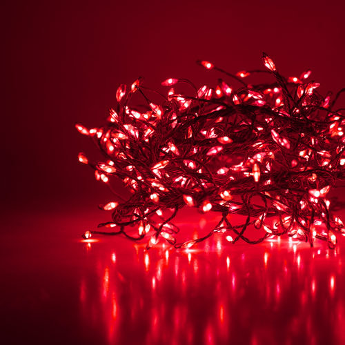 Red LED Fairy Lights, Silver Wire 400 Lights