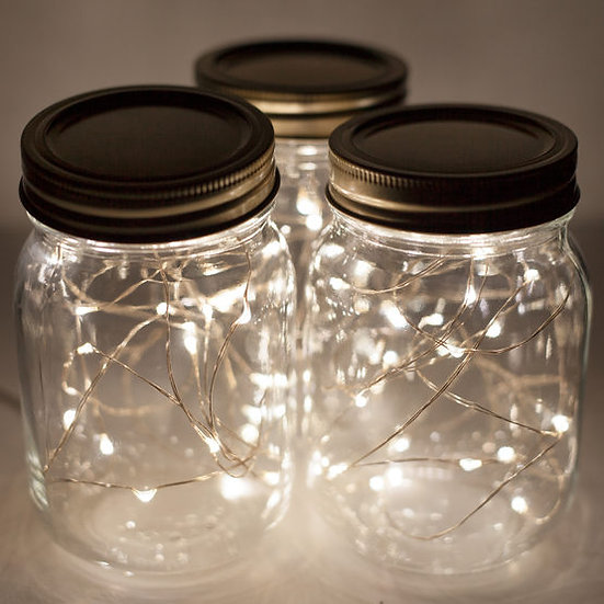 Battery Operated Warm White Fairy Lights On Silver Wire