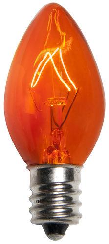 25 - C7 Transparent Orange Incandescent Bulbs, 7 Watt Light Bulbs