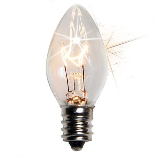 25 - C7 Transparent Twinkle Clear Color  Bulbs, 7 Watt Light Bulbs