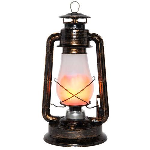 Antiqued Copper LED Digital Flame Lantern