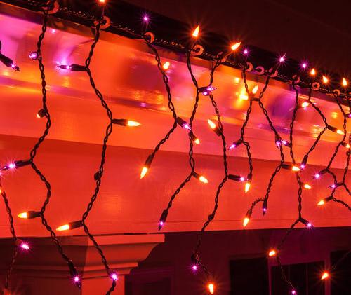 Purple Orange Halloween Icicle Lights