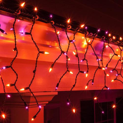 Halloween Purple and Orange Incandescent Icicle Lights
