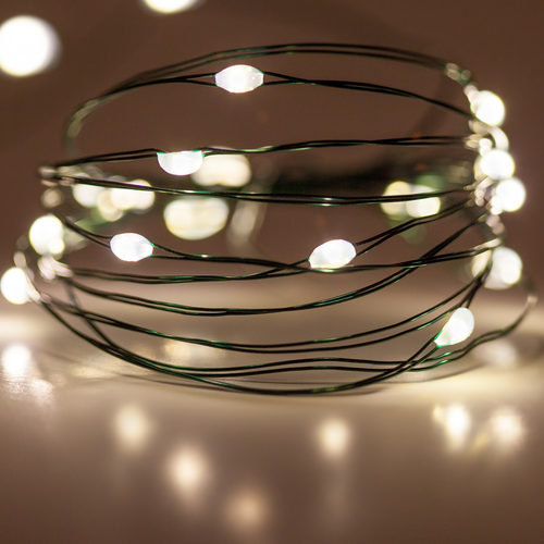 Warm White Battery Operated Fairy LED Lights, Green Wire