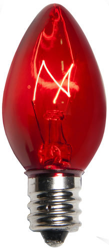 Incandescent Red C7 Christmas Light Bulb